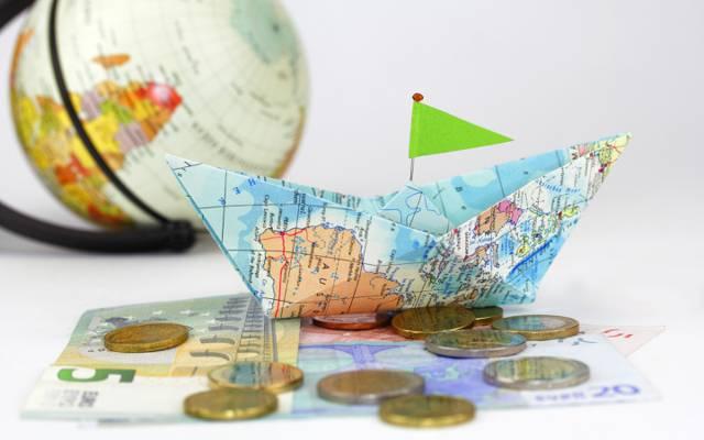 钱,纸,组成,积极,航海,纸,地图,创意,地球仪,硬币,硬币,好主意,壁纸,模糊,...