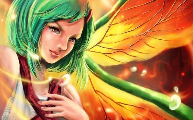 火影忍者,女孩,翅膀,艺术,绿色的头发,fuu,rikamello