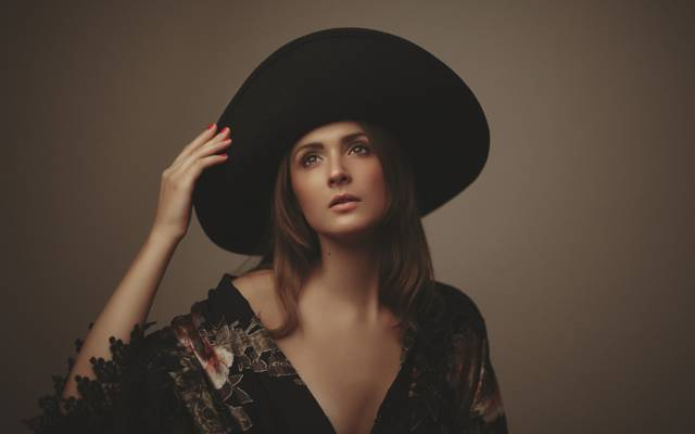 风格,帽子,女孩,背景,脸,头发