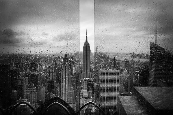 美国,滴,雨,城市,纽约,帝国大厦,黑白照片,... ...  -