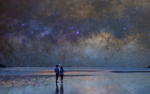 海洋,海景,银河,夫妇,镜子,反射,海边,海,海滩,游泳池,地平线,空间,星星