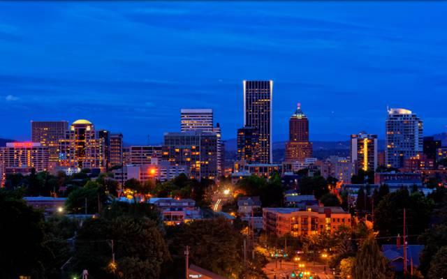 壁纸灯,晚上,波特兰,街道,家庭,城市,美国
