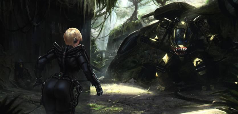 艺术,金发女郎,屁股,重金属,女孩,屁股,坦克,外骨骼,小说,机器人,丛林