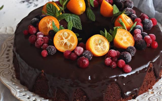 巧克力,金橘,蛋糕,浆果