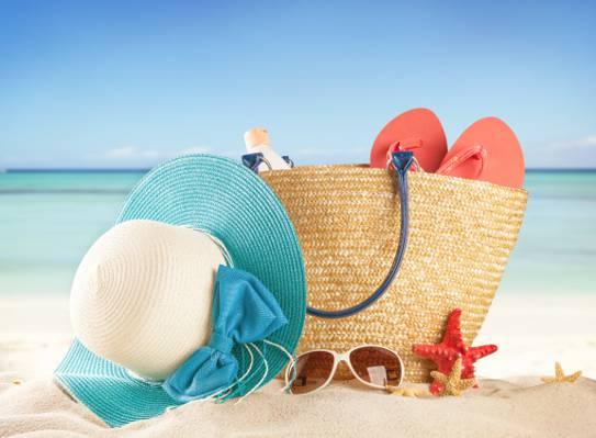 假期,沙滩,沙滩,海,假期,夏天,眼镜,袋,太阳,石板,帽子,配件,住,太阳,...