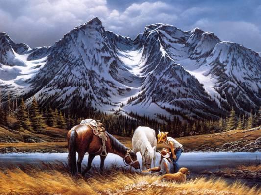 男人和女人與兩匹馬和一個金毛圖高清壁紙