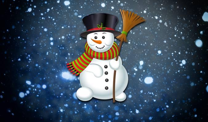 背景,节日,雪,极简主义,冬天,新年,雪人,雪花