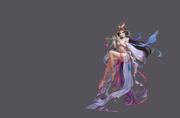 游戏中,长笛,女孩,魔术,艺术,音乐,幻想