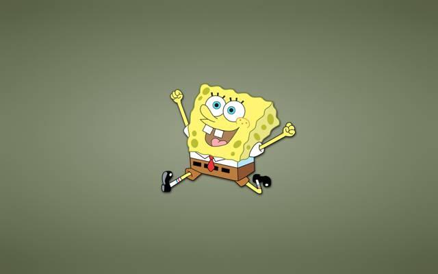快乐,海绵宝宝,跑步,微笑,海绵鲍勃方形裤子,黄色