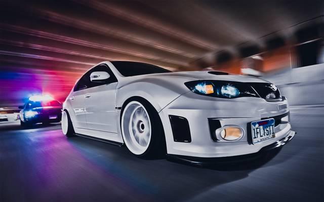 壁纸,速度,白色,汽车,风格,斯巴鲁,壁纸,白色,追逐,速度,性感,调整,汽车,警察,wrx Sti,...