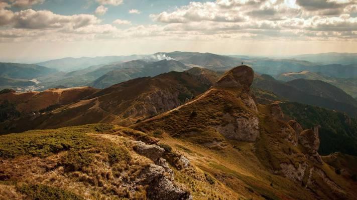 棕色的山和草高清壁纸的选择性照片