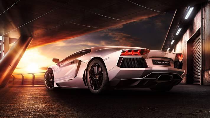 壁纸反射,兰博基尼,美女,Aventador,LP700-4,日落,后方,超级跑车,天空