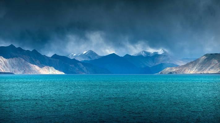 印度,云,湖,查谟和克什米尔,班公,拉达克,下雨
