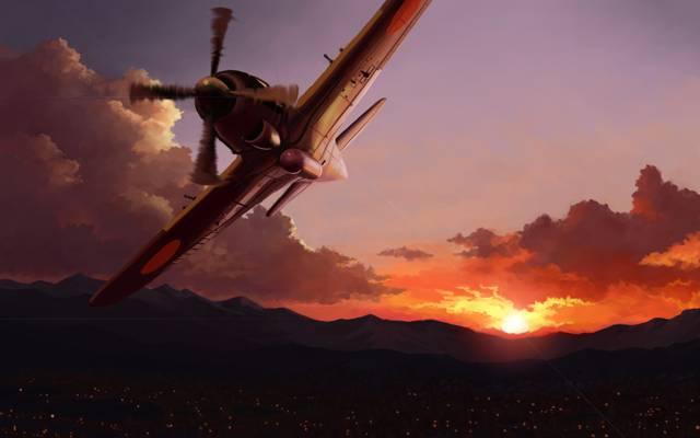 灯光,在天空,艺术,飞机,城市,日落