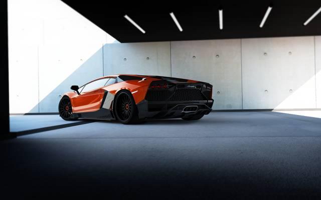 红,兰博基尼,限量版,RENM,背景,调整,后视图,Aventador,超级跑车,兰博基尼,调整,可赛,Aventador