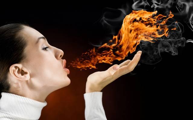 壁纸烟雾,火焰,女孩,气息,火