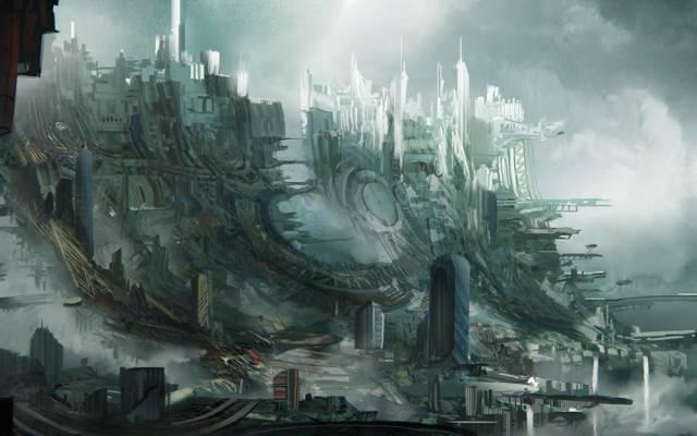 城市,天空贫民窟,贫民窟,莱昂Tukker