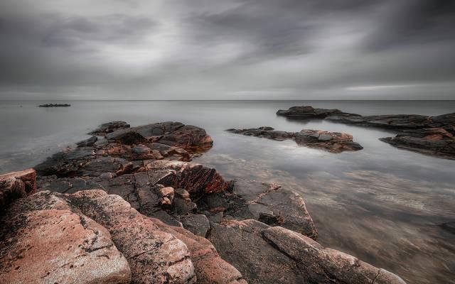 云,岸,海岸,灰色,海洋,天空,海,石头
