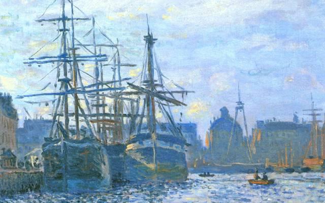 莫奈克劳德,图片,船,帆船,港口,海,城市,天空,风景