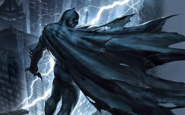 闪电,蝙蝠侠,艺术,屋顶,城市,夜晚,黑暗骑士归来,面具,服装