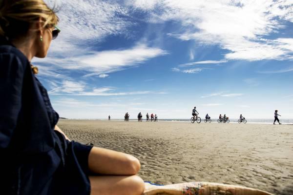 骑自行车的人,早上,女孩,海洋,人,沙滩,沙子