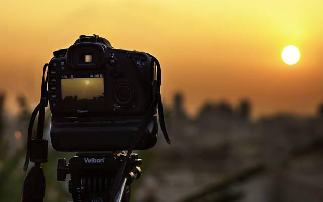 佳能,太阳,显示器,相机,日落