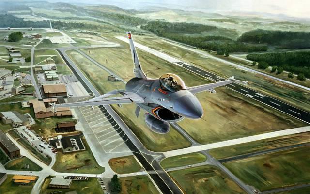 图,F-16,这架飞机,F-16,航空,战斗机,机场