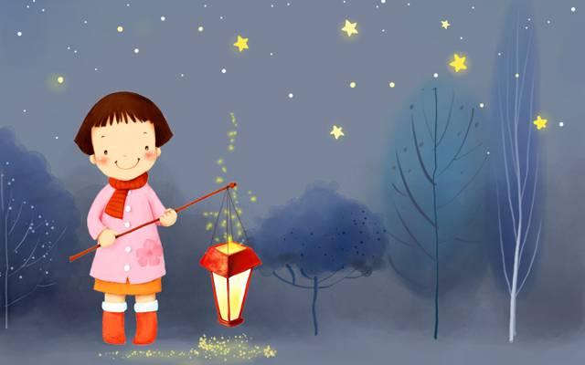 女孩,靴子,外套,星星,冬天,围巾,微笑,树,夜,灯笼,婴儿壁纸