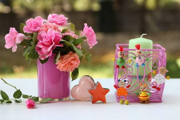 蜡烛,©Elena Di Guardo,玫瑰,花束