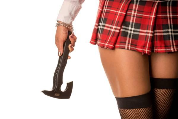 短柄斧,裙子,长筒袜