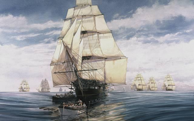 帆船,天空,帆船,图,水,护卫舰,船,人民,Mizzen桅杆,船首斜桅,船,海,...