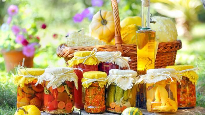 壁纸鲜花,西红柿,油,南瓜,瓶,罐子,泡菜,泡菜,Lecho,篮子
