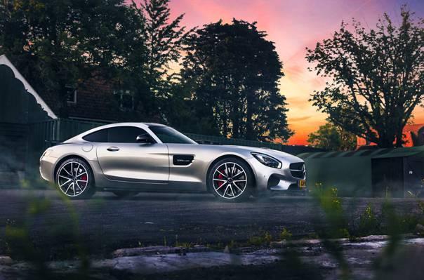银,2015年,颜色,梅赛德斯 - 奔驰,美容,Ligth,AMG,GT S,日落,超级跑车,烟雾