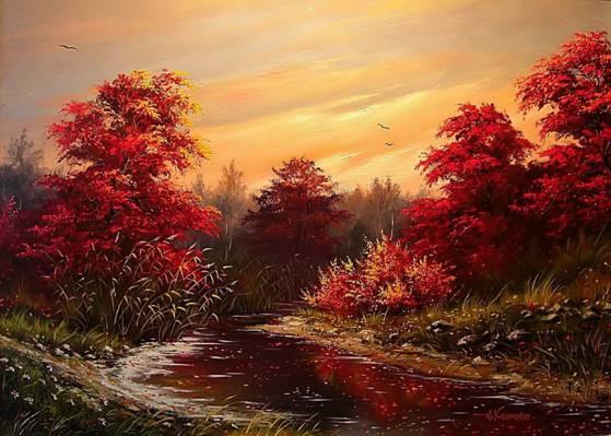 图片,Khodukov,油漆,树,岸,绘画,壁纸,鸟,叶子,河,水,天空,秋,景观