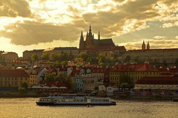 布拉格,捷克共和国,圣维特大教堂,布拉格城堡,家,伏尔塔瓦河,河流