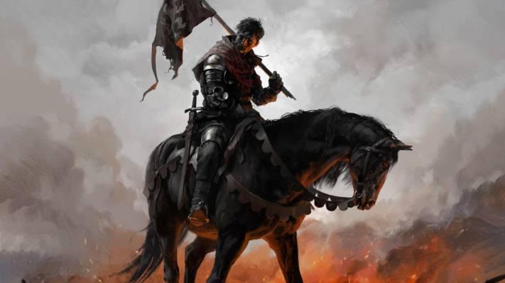 盔甲,旗帜,武器,肯,马,剑,刀片,王国来吧:拯救,人,战士
