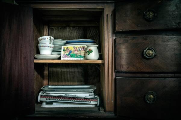 天秤座,衣柜,明信片,杯,餐具柜