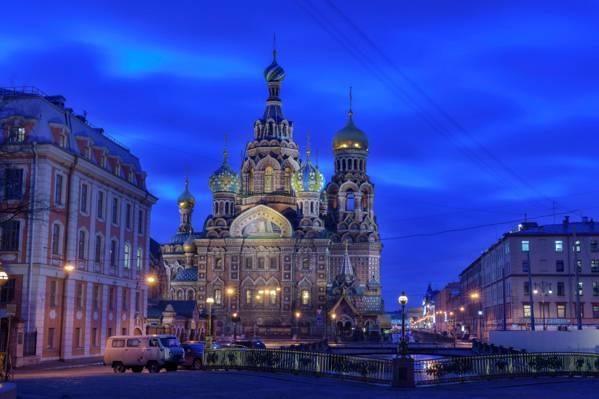 桥梁,教堂,圣彼得堡,家,寺,俄罗斯,灯,晚上,通道,灯,天空