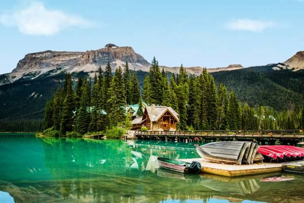 房屋,桥,山,树,船,湖,码头,岩石,加拿大,森林,幽鹤国家公园