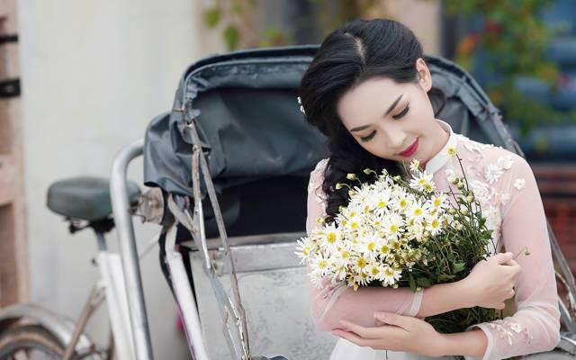 亚洲,女孩,心情,洋甘菊,风格,鲜花