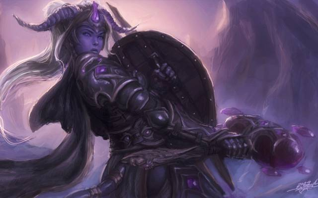 战士,盔甲,魔兽世界,魔兽世界,女孩,锤子,角,洞穴,圣骑士