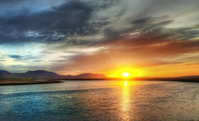 岸,太阳,天空,湖,日落
