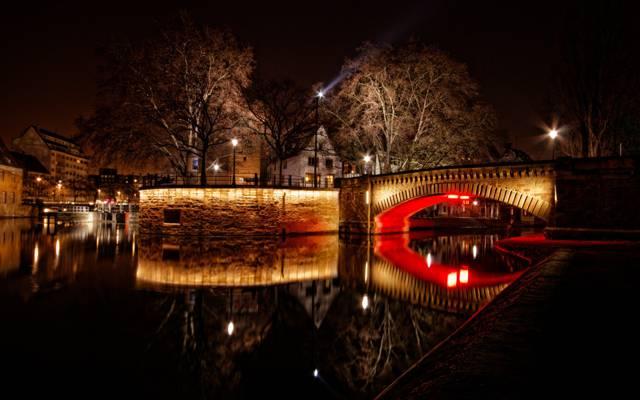 灯,桥,晚上,史特拉斯堡,法国,家,河
