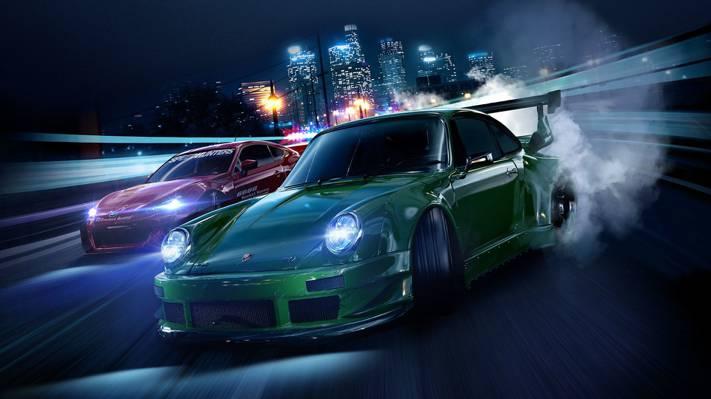 道路,幽灵游戏,机器,城市,灯光,烟雾,夜晚,轮胎,保时捷,斯巴鲁,汽车,速度,家庭,...  -