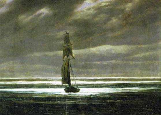 帆,海景,在月光下的岸边,卡斯帕大卫·弗里德里希,船,图片