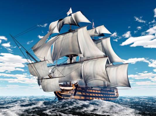船,3D图形,帆船,海,波浪,帆,天空,云,桅杆