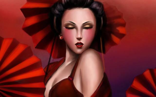 女孩,艺术,艺伎,Lilyzou,红色,脸,遮阳伞