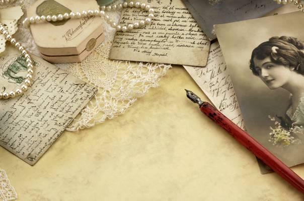 复古,处理,纸,信件,卡,女孩,照片,老,复古,墨水,珠,卡,花边,笔,珍珠,...