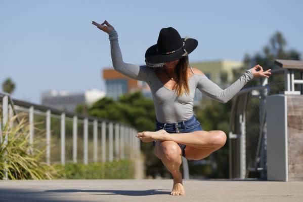 姿势,帽子,瑜伽,女孩,腿,灵活性