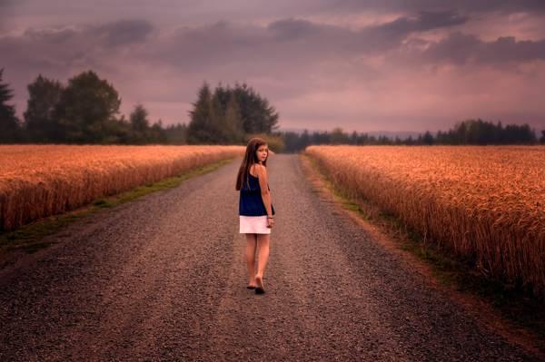 女孩,路,领域